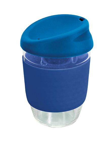 kiato branded reusable glass coffee cups blue