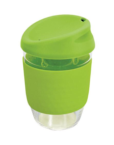 kiato branded reusable glass coffee cups lime