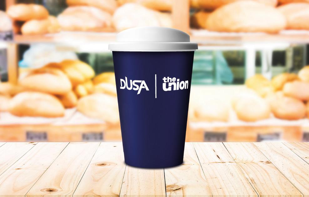 DUSA reusable cups, dundee university reusable cups by universal mugs