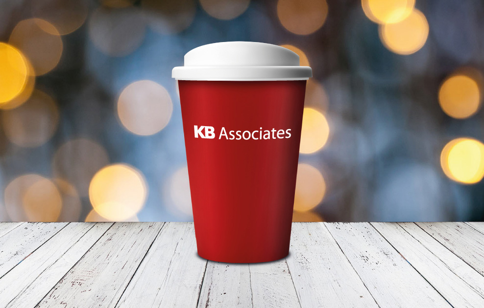 KB Associated in Dublin branded reusable coffee travel cups