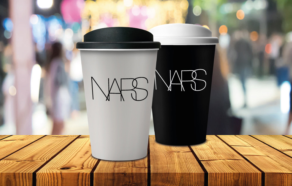 NARS London branded reusable coffee cups and mugs by Universal Mugs
