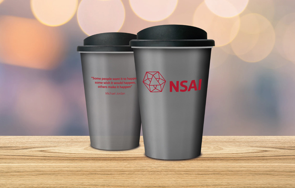 NSAI Dublin reusable coffee cups and mugs by Universal Mugs