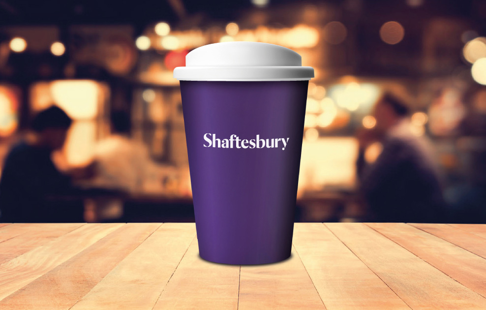 shaftesbury london branded reusable coffee cups