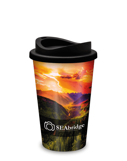 Full Colour Branded Reusable Coffee Cups Universal Mugs